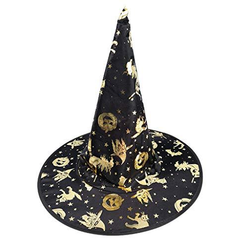 Maskerade Muster Kostüm - Biaobiaoc Hexen-Zaubererhut für Erwachsene, Kinder, bunt, Bronzefolie, Kürbis-Muster, Kostüm, Halloween, Party, Maskerade, Cosplay Kostüm 1
