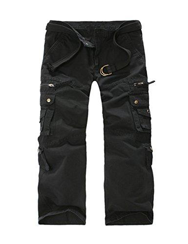 Menschwear Herren Cargo Hosen Freizeit Multi-Taschen Military pantaloni Ripstop Cargo da uomo (34,Schwarz) (Shorts Military Woodland Camo)