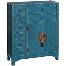 AXIDECOR - Mueble Auxiliar - Cómoda ORIENTE Azul 2 Puertas 8 Cajones - iBERGADA