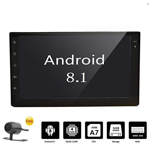 EINCAR Android 8.1 Auto-Stereoradioempfänger Doppel-DIN-Autoradio mit 7-Zoll-Touch-Screen-Unterstützung GPS, WiFi, Backup-Kamera-Eingang, Bluetooth, Mirrorlink, USB SD, AUX-IN mit 2 GB RAM