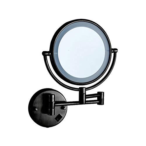 YC electronics Badezimmer-Eitelkeits-Spiegel führte Lampe Schönheits-Spiegel an der Wand befestigter faltender teleskopischer Spiegel doppelseitiger Eitelkeits-Spiegel Make-Up-Spiegel Schminkspiegel -