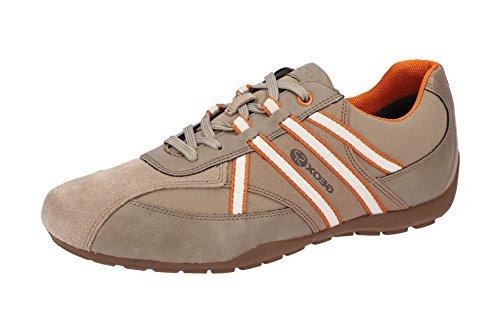 Geox U743FB Uomo Ravex Sportlicher Herren Sneaker, Schnürhalbschuh, Freizeitschuh, Atmungsaktiv, Herausnehmbare Innensohle Beige (Sand/Orange), EU 43