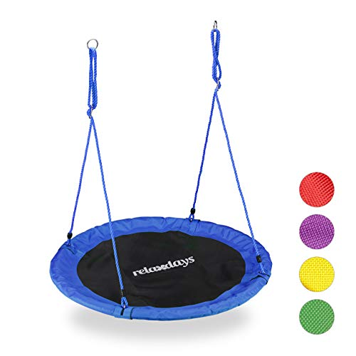 Relaxdays Unisex- Erwachsene Nestschaukel, Outdoor Schaukel für Kinder & Erwachsene, Ø 110 cm, bis 100 kg, rund, Tellerschaukel, blau, H x D: ca. 5 x 110 cm