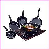 FLIXBLOOM Perfect Collection Combo Set of 5 Pcs Induction Base Cookware Sets Black (Kadai, Tawa, Milk Pan, Sauce Pan, Fry Pan