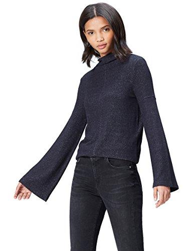 find. Pullover Damen meliert mit Stehkragen, Trompetenärmeln und mittiger Naht, Blau (Navy Marl), 38 (Herstellergröße: Medium)
