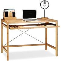 Wundervoll Relaxdays Computertisch Holz, Tastaturauszug, Bürotisch Ausziehbar,  Schreibtisch Massiv, HxBxT: 76,