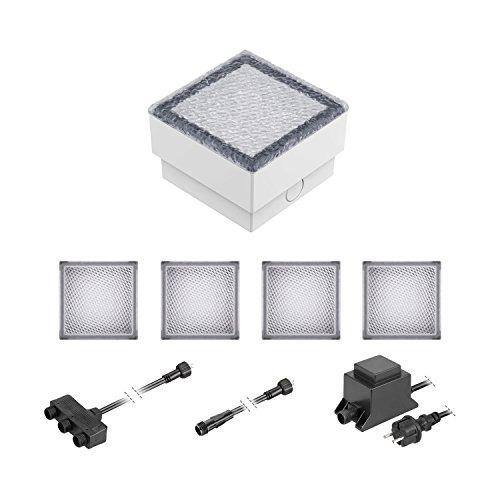 ledscom.de LED Pflaster-Stein Gorgon Boden-Einbauleuchte für außen, 10x10cm, 12V, blau 5er Set