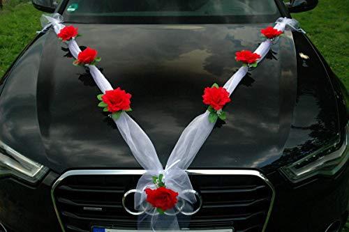 Organza M Auto Schmuck Braut Paar Rose Deko Dekoration Hochzeit Car Auto Wedding Deko Girlande PKW (Rot/Weiß)