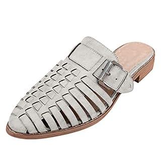 Damen Flache Pantoletten Geschlossene Spitze Zehen Slip On Loafer Slides Backless Schuhe Open Back Aushöhlen Sandalen Fashion Low Block Chunky Heeled Gladiator Sandale