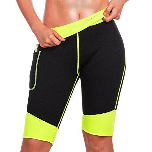 TrainingGirl Zoll dünner Hot Neopren Sauna Sweat Shorts für Frauen Gewicht Verlust Figurformendes Hose Workout Yoga Leggings, Black Hot Sauna Shorts, S (US 6-8) -