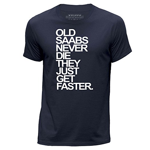 stuff4-uomo-piccolo-s-blu-navy-girocollo-t-shirt-old-saabs-saab-never-die