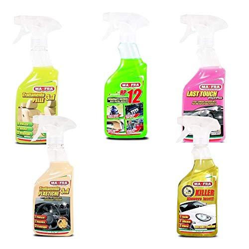 KIT PULIZIA AUTO MA-FRA sgrassante cera plastiche carrozzerie detergente pelle insect killer PROFUMATORE IN REGALO