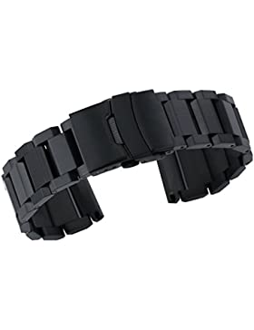 22mm Premium Heavy Typ SS Uhr Ersatz Armband für Männer in schwarz gebürstetem Finish Edelstahl