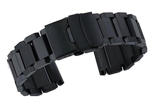 24mm Superior Schwarz Edelstahl Band Armbänder für Herren Big Uhren Matte Finish Gerade Ende