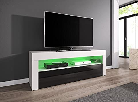 Meuble TV Armoire Meuble TV divertissement Meuble Bas Luna 140 cm, corps blanc mat/Fronts Noir brillant, Bois dense, With LED, 140 cm