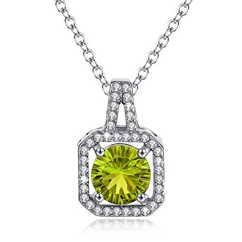 Birthstone Halskette Halo Diamond Peridot grüne kubische Zirkon August CZ quadratische Anhänger (Frau Kostüme Eine Schwangere Einfach)