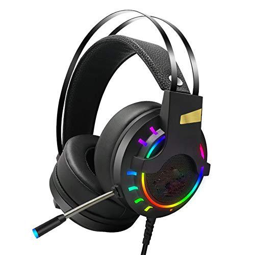 QAZX Cómodo Auricular PS4 para Juegos de 3.5 mm con micrófono en el Control de Ruido en el Control en línea para Xbox One Switch Iluminación LED Orejeras de Memoria Suave-Black