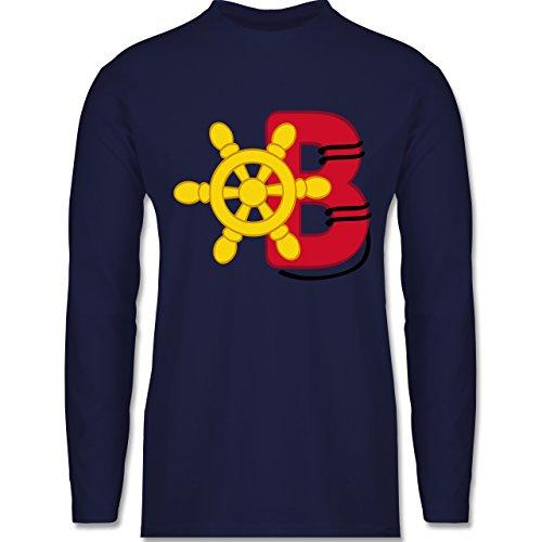 Shirtracer Anfangsbuchstaben - B Schifffahrt - Herren Langarmshirt Navy Blau