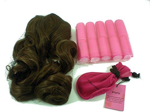 sleep-in 10Rollers + clip on Hair emergency Curly Blow kit Brown