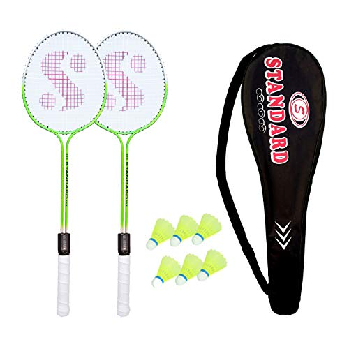 Stanex Standard Double Shaft Multicolor Badminton Set of 2 Piece Badminton 6 Piece Nylon Shuttle with 1 Piece Attractive Cover