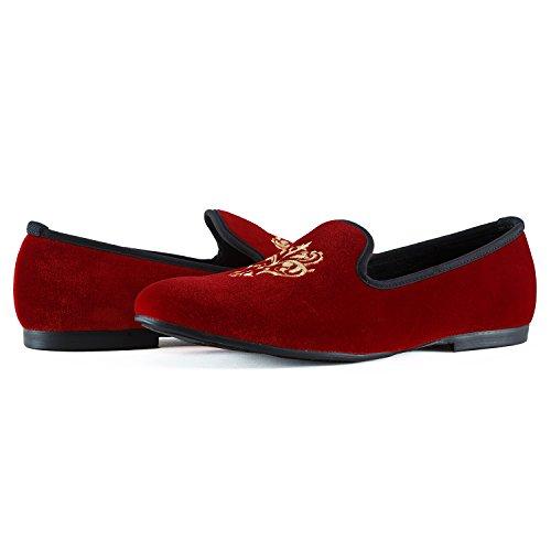 Veste en velours vintage Broderie Noble Flâneur Chaussures à enfiler Flâneur fumer Chaussons Noir/Rouge/Bleu Rouge - rouge