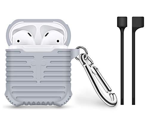 Bigphilo [Stripes Series] Hülle für Apple AirPods Aufladen Case - Halteband für AirPods/Kopfhörer Halter Band Strap - AirPods Silikon Schutzhülle Etui Case Tasche- Cover mit Karabiner Haken Grau - Bulk-sport-band