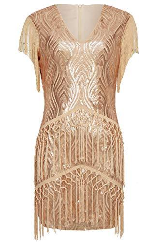 eston Kleid Mini Damen Vintage Gatsby Kostüm Flapper 20er Jahre Cocktailkleid (Rose Gold, XXL (Fits 88-92 cm Waist)) ()