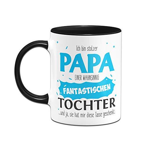 Tassenbrennerei Tasse Papa Tochter - Stolzer Papa - Geschenk für Vater Papa (Schwarz) - 2