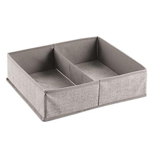 InterDesign 04802EU Aldo Aufbewahrungsbox für Schrank oder Kommodenschublade für Unterwäsche, Socken, Bhs - groß, leinenfarben, Polypropylene, Linen, 36 x 33 x 10 cm (Fliegen Unterwäsche)