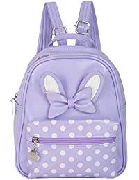 "Shopigator Backpacks For Women Stylish, Bow Backpack, Stylish Bag For Women Or Girls, Polka Dots Mini Backpack (Purple, Length 8"" x Width 3"" x Height 10"")"