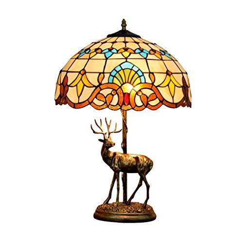 16 Zoll Tiffany Stil Tischlampe, Barock Glasmalerei Schatten Elch Skulptur Basis Dekor Schreibtischlampe für Schlafzimmer, Nachttisch, Wohnzimmer Barock-skulptur