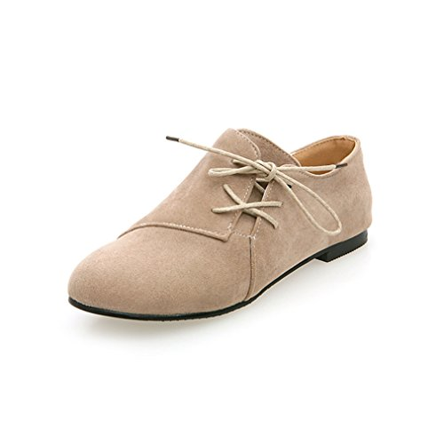 Damen Schnürhalbschuhe Rundzehen Nubukleder Flache Niedrige Freizeitschuhe Britische Stil Atmungsaktiv Bequeme Schuhe Beige