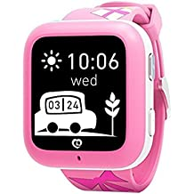 1*Misafes Inteligente Reloj GPS Perseguidor con Llamada Telefónica Para Niños Deportes miSafes Monitor Seguridad Google Mapa Vía App Gratis para Teléfono Inteligente iOS Android Iphone Samsung Lg Htc Huawei Google Nexus Rosa