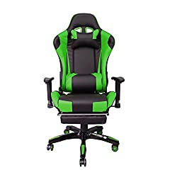 HG® Bürodrehstuhl Gaming Stuhl Premium Komfort gepolsterte Armlehnen Racing Stuhl Belastbarkeit 200 kg Höhenverstellbar schwarz/grün