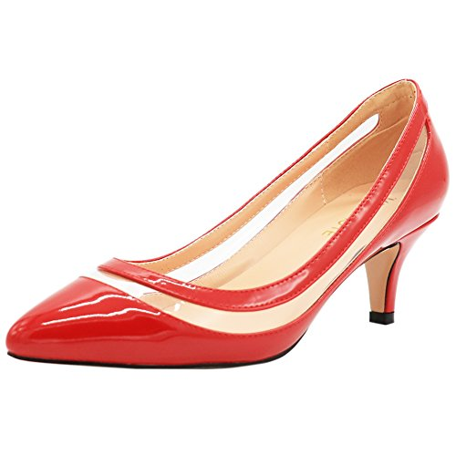 MERUMOTE Damen Spitz Middle Heel Kleid-Partei EU 35-46 Pumps Schuhe Rot-Lackleder