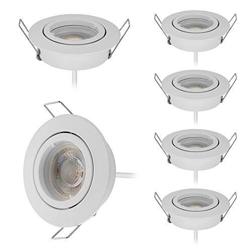 Lot de 6 Extra Plat Spot Led Encastrable Complete Satin Orientable lumière 5W Blanc Chaud 3000K 430Lm,Percage 68mm 120°d'éclairage 220V Blanc