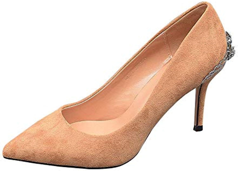FLYRCX Stiletto de la Mode féminine a souligné Talons Hauts Hauts Hauts Simples Chaussures Peu Profondes Bouche Daim Strass...B07J5DH4RXParent   D'adopter La Technologie De Pointe  9eb829
