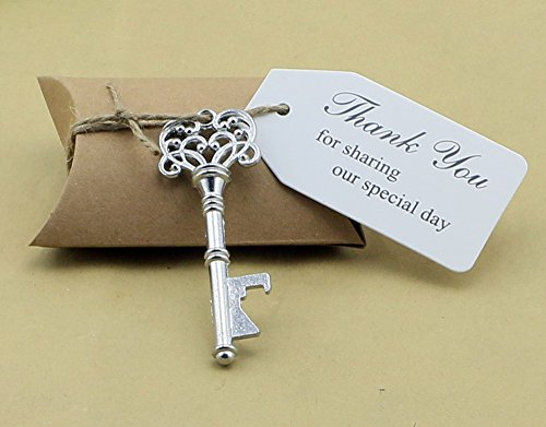 50pcs Bomboniere Candy Box w scheletro chiave apribottiglia Escort Cards-Biglietti di ringraziamento Tag Cuscino Box, metallo, Gold, Key Style #8