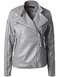 Damen Mantel Outwear Jacke Parka Oberbekleidung Lässige Frauen  Freizeitjacke Revers Dünne Lederjacke Schräger Reißverschluss Reine Farben 989c877b95