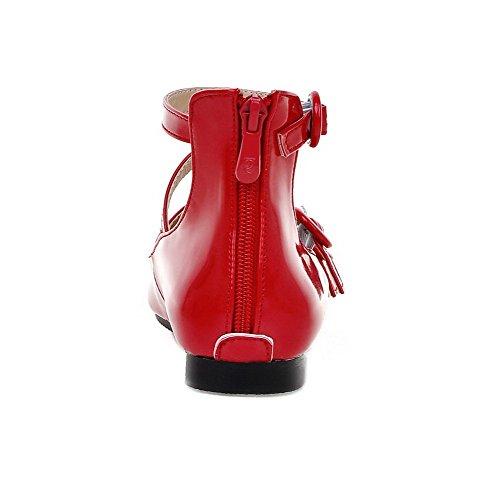 VogueZone009 Damen Spitz Zehe Niedriger Absatz Lackleder Rein Schnalle Pumps Schuhe Rot