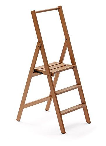ARREDAMENTI ITALIA 3-Stufen Leiter Kimora, Holz - zusammenklappbar - 4 Stufen -Farbe: Kirsche Holz AR-It il Cuore del Legno