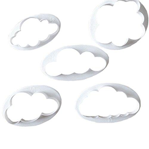 -Set de cortadores de galletas de plástico con diseño de nube de cortador de Fondant Cake Moldes Moldes Decoración de Pasteles Herramientas