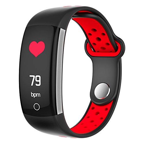 TBY Bluetooth 4,0 Intelligent Hand Ring Echtzeit-Herzfrequenz Bluthochdruck Blut Sauerstoff Monitor 0,96 Zoll Bildschirm Wasserdicht Unterstützen Android IOS System,Red -