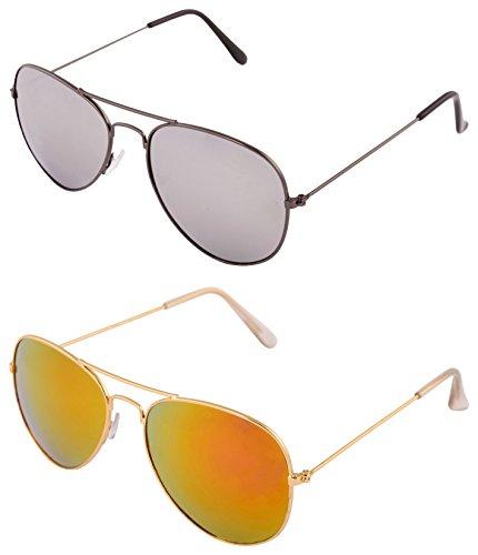 Addon Eyewear Combo Aviator Sunglasses For Men & Women Mirrored