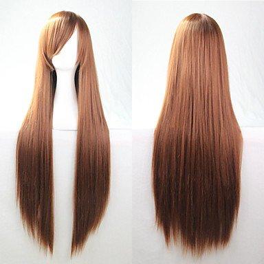 OOFAY JF-Neue Anime Cosplay braunen langen glatten Haaren Perücke 80cm , (Geflochtene Braune Perücke Für Erwachsene)