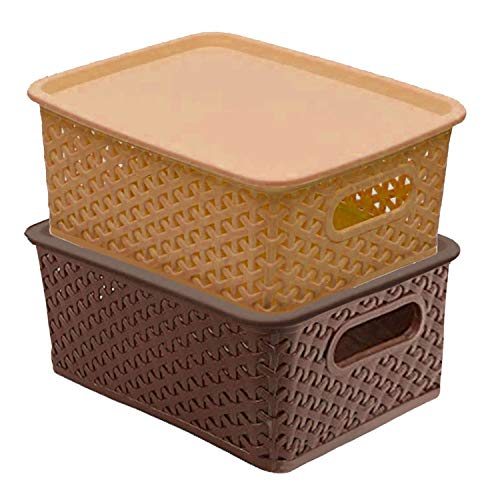 Kuber Industries Plastic 2 Pieces Small Size Multipurpose Solitaire Storage Basket with Lid (Multi) -CTLTC10894