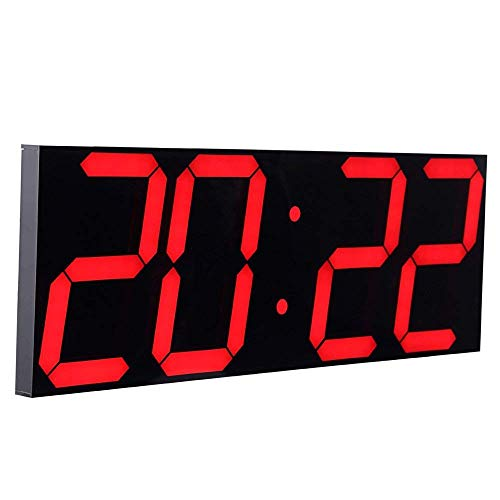 CHKOSDA Wanduhr mit Countdown-Funktion, 6 Zoll LED Digital, Automatische Helligkeitsanpassung, Fernbedienung, Groß Kalender für Zuhause, Schlafzimmer, Büro(Rot)