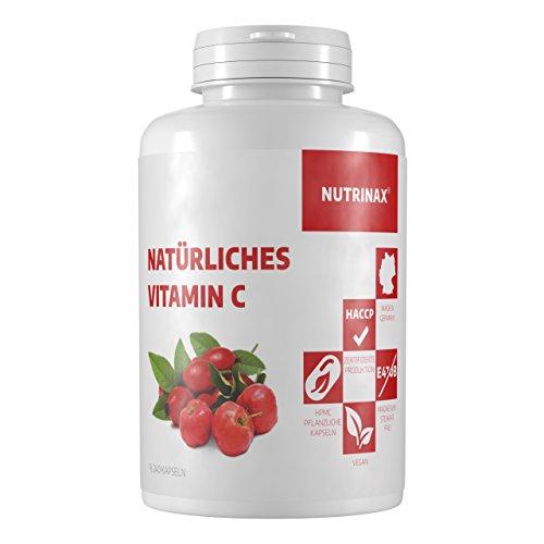 Vitamin C Marken (Natürliches Vitamin C - 240 vegane Kapseln - Acerola Extrakt und Hagebutten Extrakt - hoher Gehalt an Bioflavonoiden - Made in Germany)
