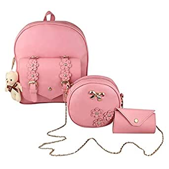 Bellina® Fashion Girls 3-PCS Fashion Cute Mini Leather Backpack Sling & Pouch Set for Women