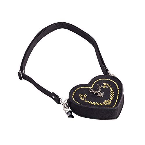 ASVP Shop Damen Oktoberfest Tasche - Herz Kostüm Tasche mit Edelweiss, Hirsch Brosche und Herz Blumen Stickerei - Schöne Handtaschen für das Oktoberfest ()